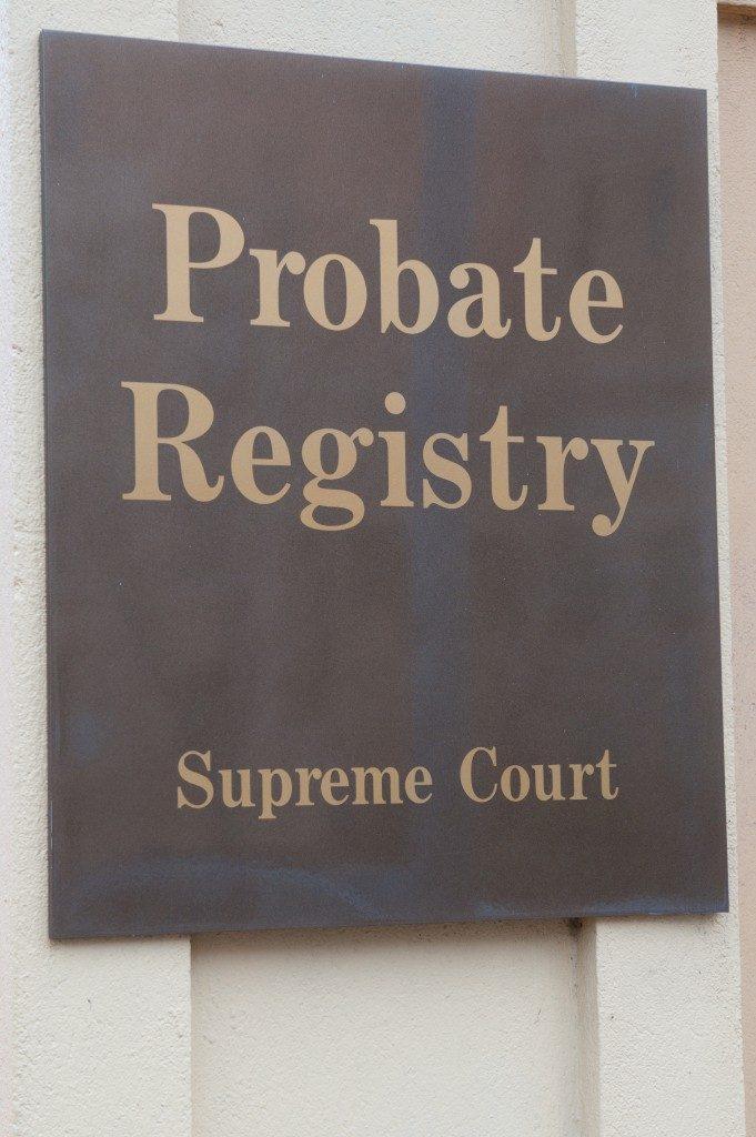 Probate registry sign on a building exterior