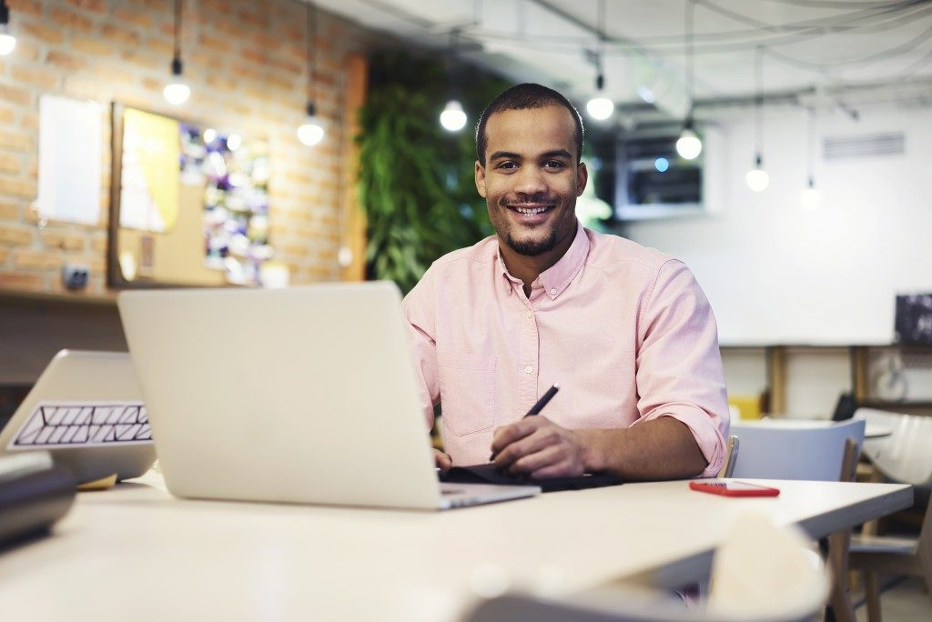 Businessman working at a coworking office