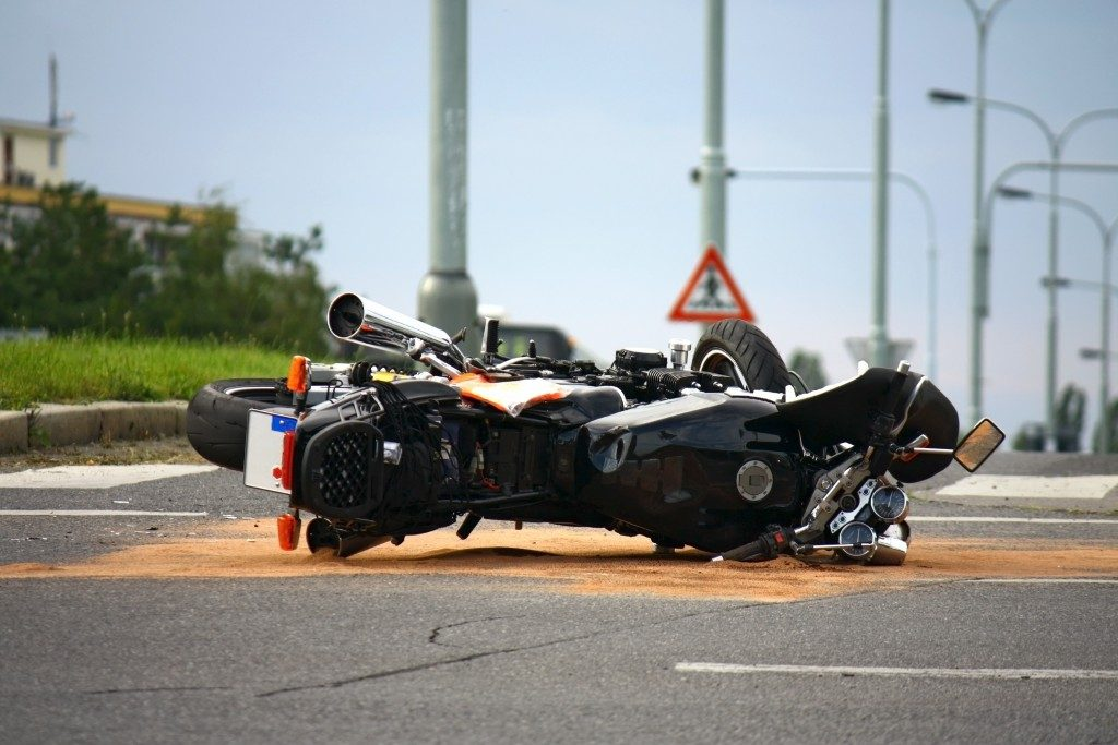 Motorcycle accident on the street