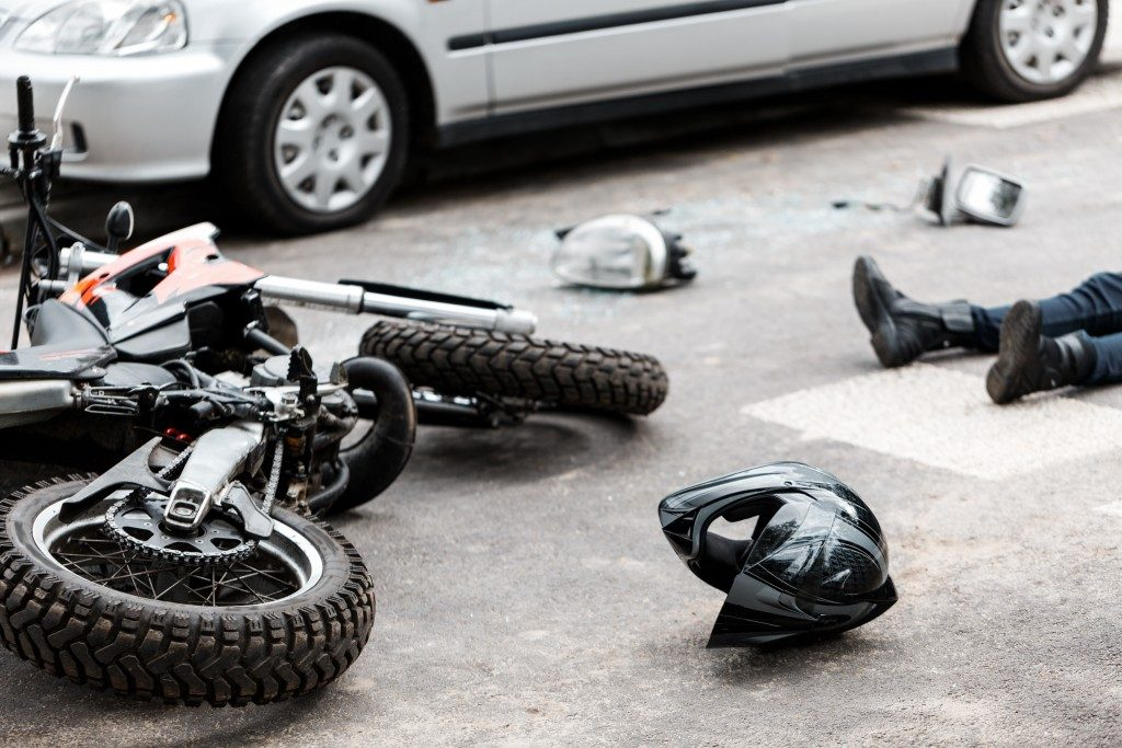 Motorcycle driver encountering an accident