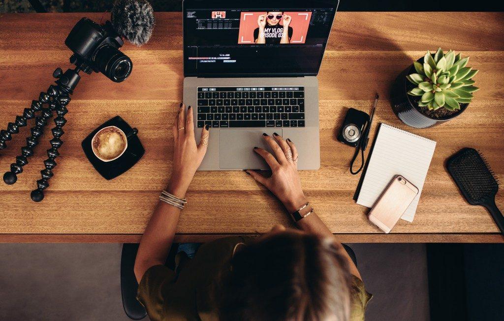 editing video on laptop