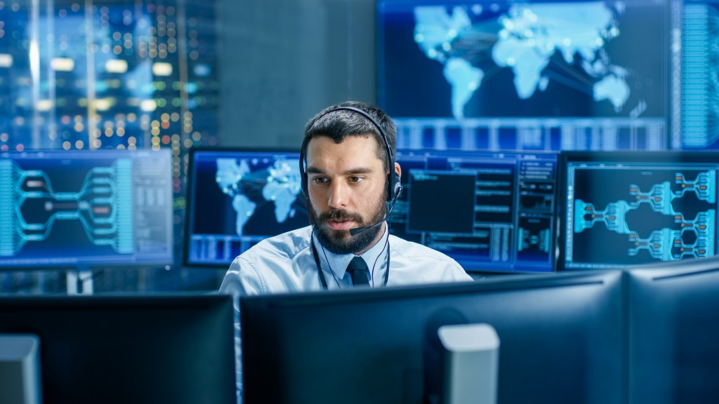 Man working in the system monitoring room