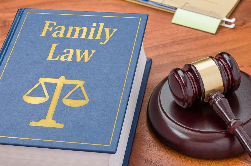 A Family Law law book with a gavel
