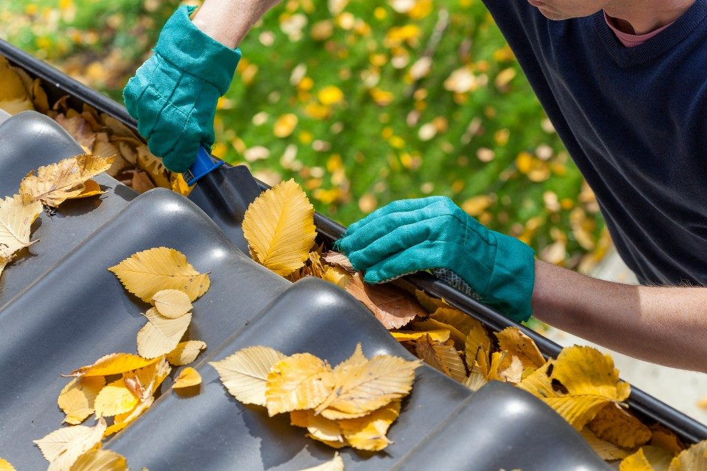 man cleaning up gutter full of leaves