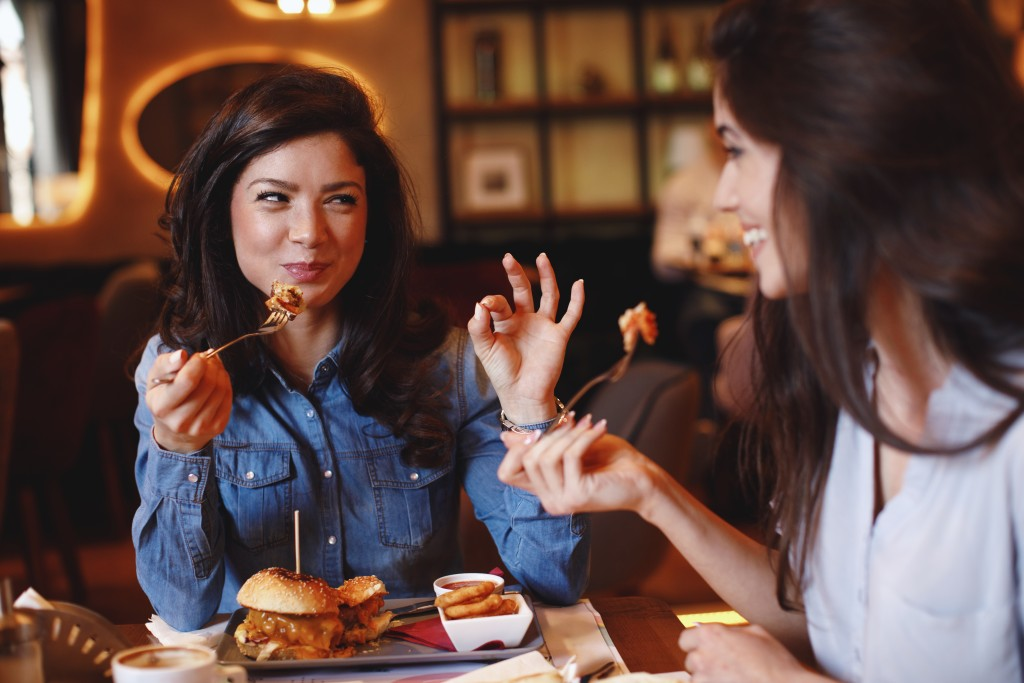 two women dining out