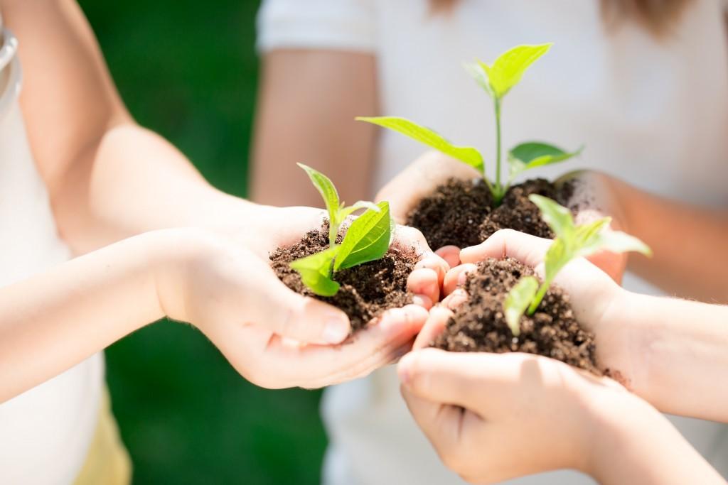 children holding soil