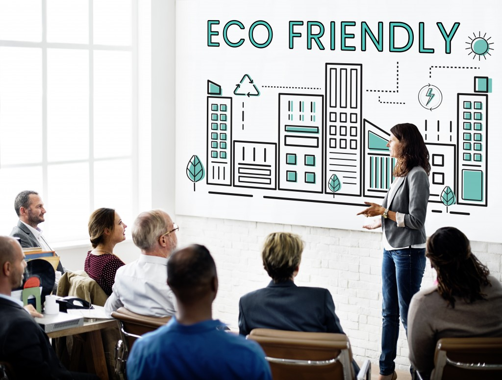 business meeting on eco friendliness