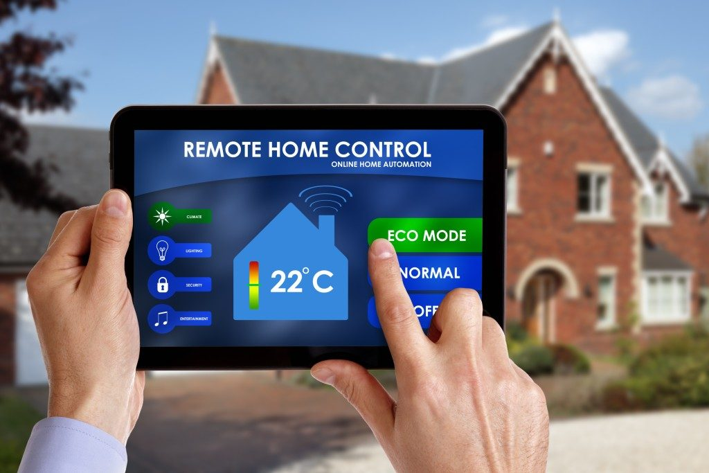 home being controlled by a remote control tablet