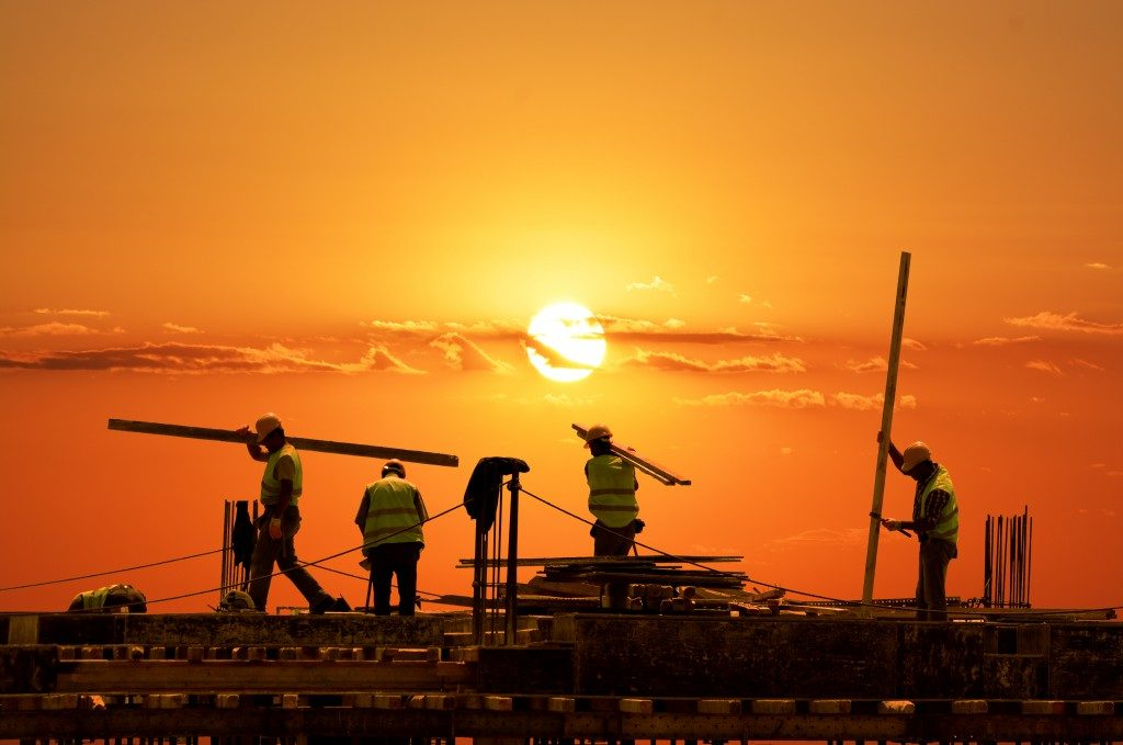 construction during sunset