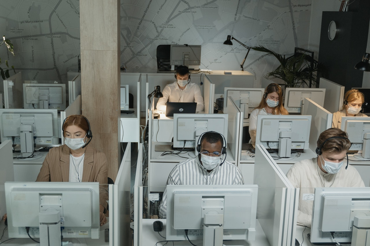 call center working face masks